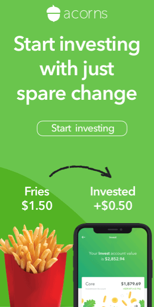 Acorns ad - Start investing with just spare change