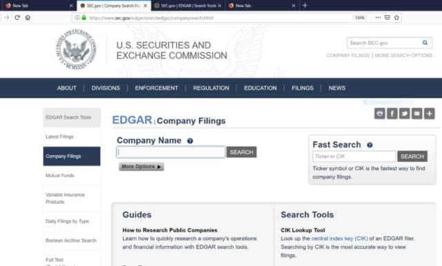 U.S. Securities and Exchange Commission - Website Homepage