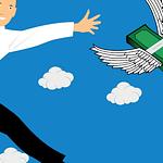 Cartoon image of man reaching for money flying away
