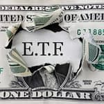 Torn dollar with ETF message