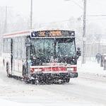 Toronto bus in a snowstorm