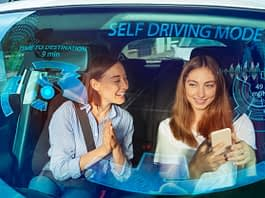 Mother and daughter in the self driving car without a wheel talking texting on the front seat