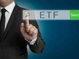 ETF internet browser is operated by businessman.