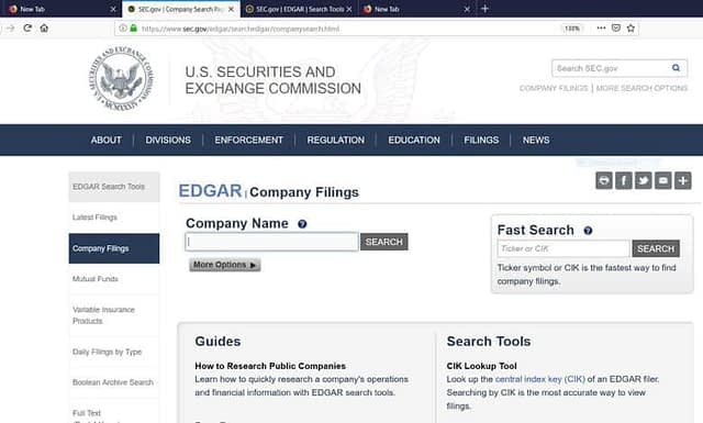U.S. Securities and Exchange Commission - Website Homepage
